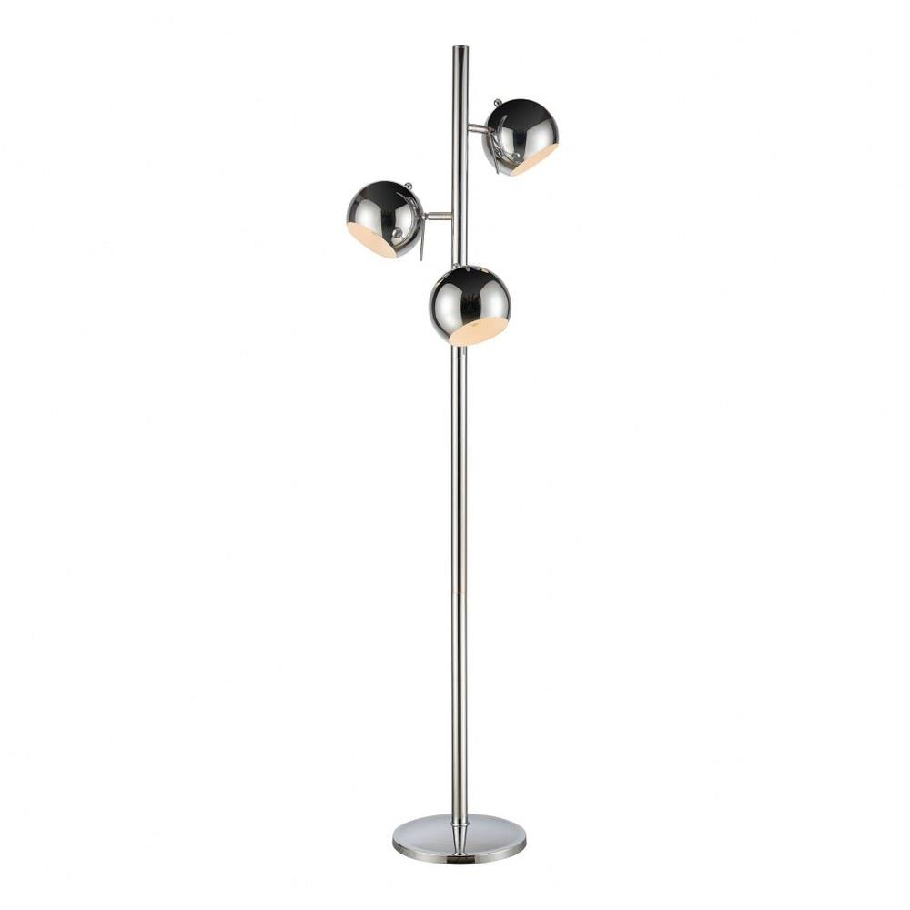 Three Light Globe Floor Lamp With Metal